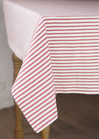 Red Ticking Stripe Tablecloth
