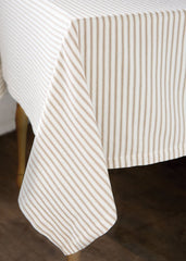 Tan Ticking Stripe Tablecloth