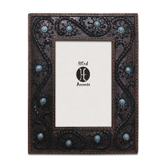 Faux Leather Picture Frame with Turquoise Accents - Retro Barn Country Linens - 1