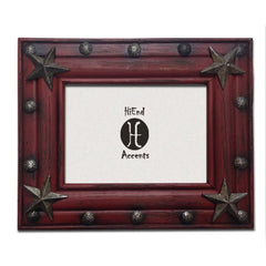 Burgundy Western Picture Frame - Retro Barn Country Linens - 1