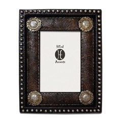 Faux Leather Picture Frame with Conchoes - Retro Barn Country Linens - 1