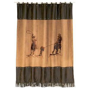 Embroidered Team Roping Shower Curtain