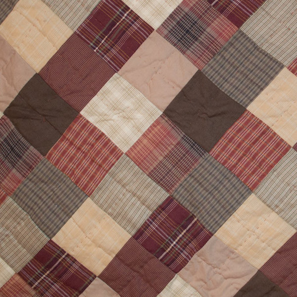 Quilted Patchwork Bedspread Autumn Plaid Retro Barn