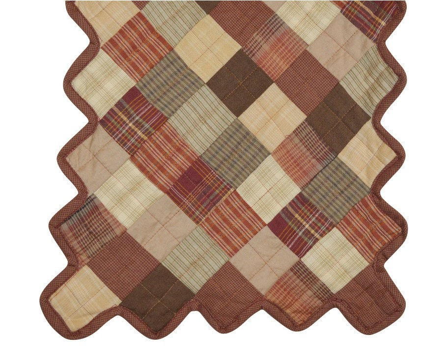 Beau ... Autumn Plaid Quilted Table Runner   Retro Barn Country Linens   1