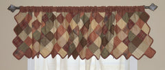 Autumn Plaid Patchwork Valance - Retro Barn Country Linens - 1