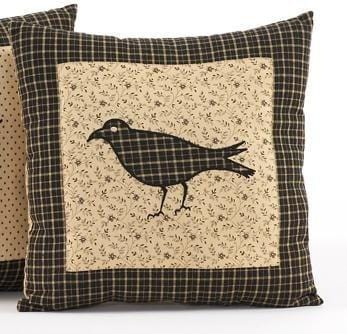 "Kettle Grove Black Crow Pillow 16"" - Retro Barn Country Linens"