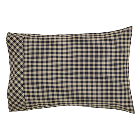 Black Check Pillow Case Set - Retro Barn Country Linens