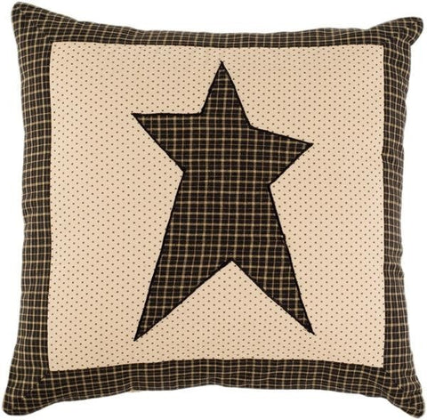 "Kettle Grove Black Star Pillow 16"" - Retro Barn Country Linens"