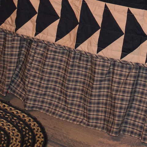 Black and Tan Plaid Bedskirt