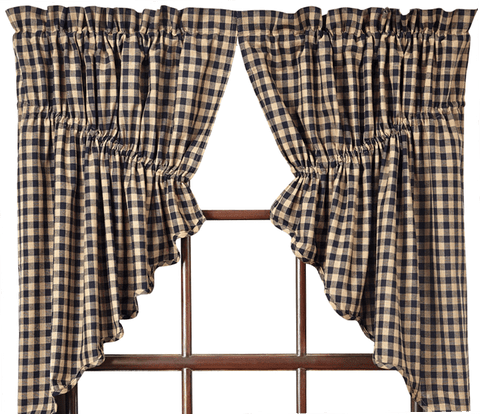 Black Check Prairie Swag - Retro Barn Country Linens - 1
