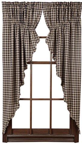 Black Check Prairie Curtain - Retro Barn Country Linens - 1