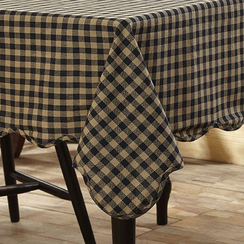 Black Check Square Tablecloth