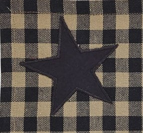 Black Star Shower Curtain - Retro Barn Country Linens - 2