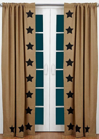 "Burlap Natural Black Stencil Star 84"" Panel Set - Retro Barn Country Linens"