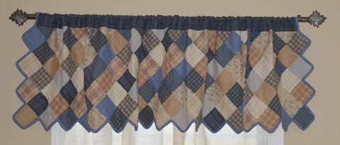 Cornflower Patchwork Valance - Retro Barn Country Linens - 1