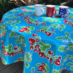 "Blue Forever 68"" Round Oilcloth Tablecloth"