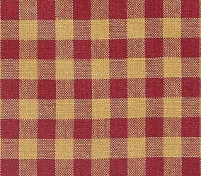 Burgundy Check Prairie Swag - Retro Barn Country Linens - 2