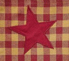 "Burgundy Star 63"" Panel Set - Retro Barn Country Linens - 2"