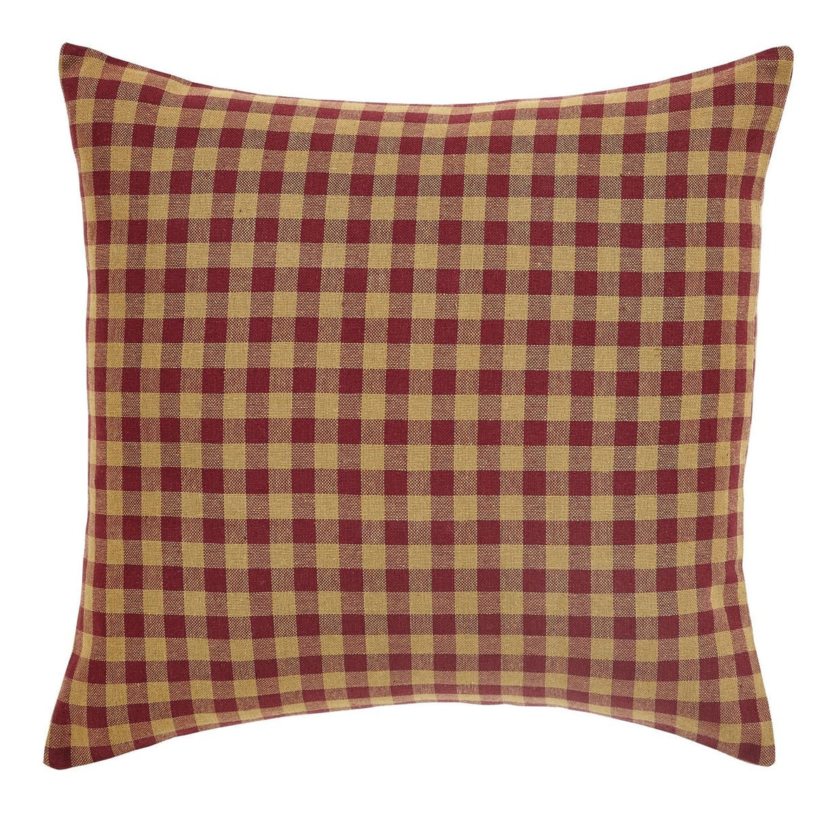 "Burgundy Check 16""  Fabric Pillow"