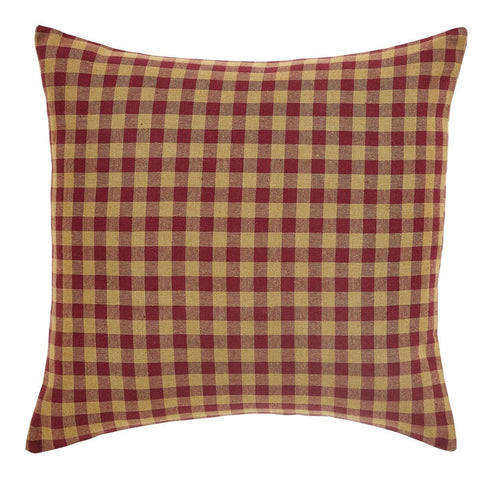 "Burgundy Check 16""  Fabric Pillow - Retro Barn Country Linens"