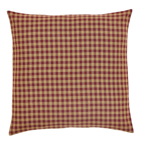 Burgundy Check Fabric Euro Sham - Retro Barn Country Linens