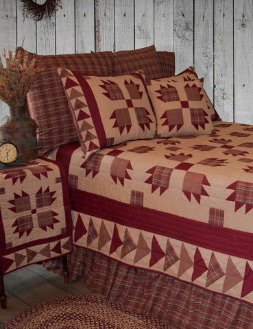 Burgundy Bear's Paw Roughhouse Quilt with Rust Plaid Accessories