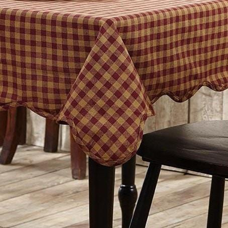 Burgundy Check Square Tablecloth Retro Barn Country Linens