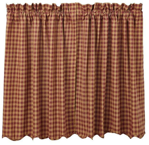 Burgundy Check Tier Set - Retro Barn Country Linens - 1