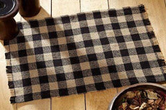 Burlap Black Check Placemat Set - Retro Barn Country Linens