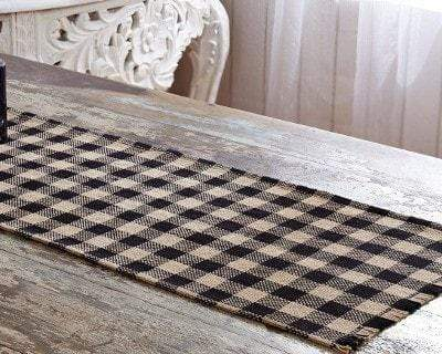 Burlap Black Check Runner