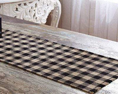 Burlap Black Check Runner - Retro Barn Country Linens - 1