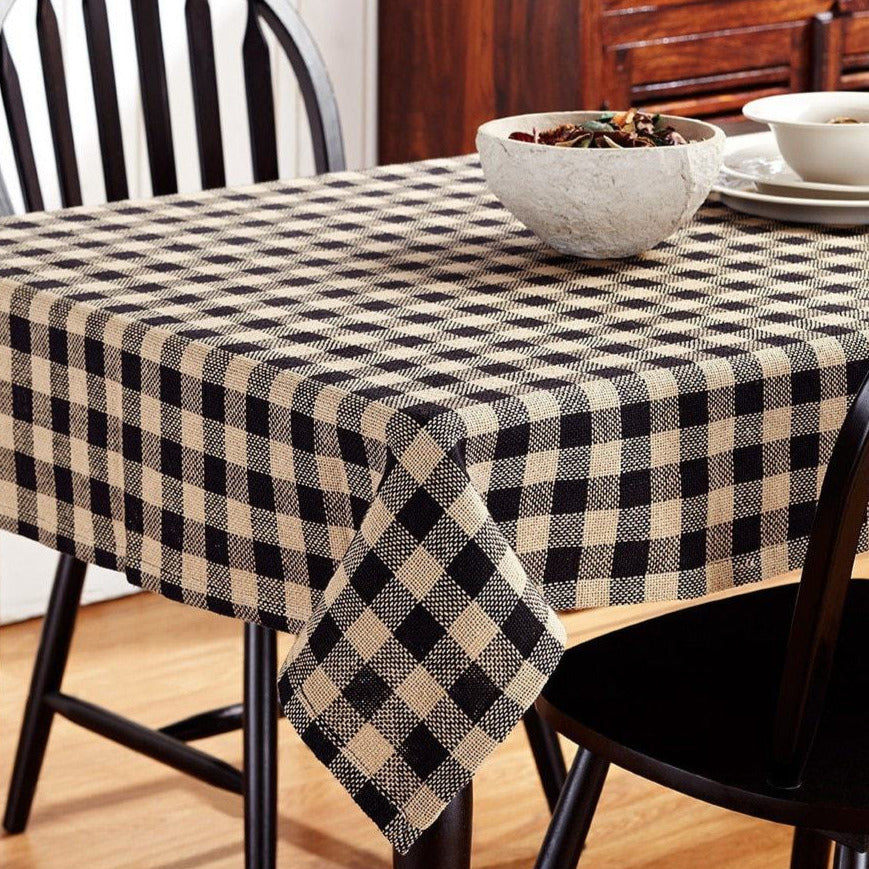 Burlap Black Check Rectangle Tablecloth
