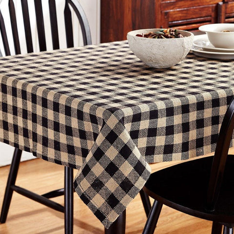 Burlap Black Check Square Tablecloth - Retro Barn Country Linens