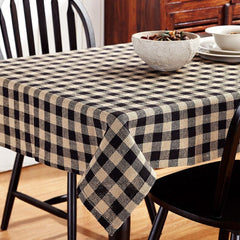 Burlap Black Check Rectangle Tablecloth - Retro Barn Country Linens