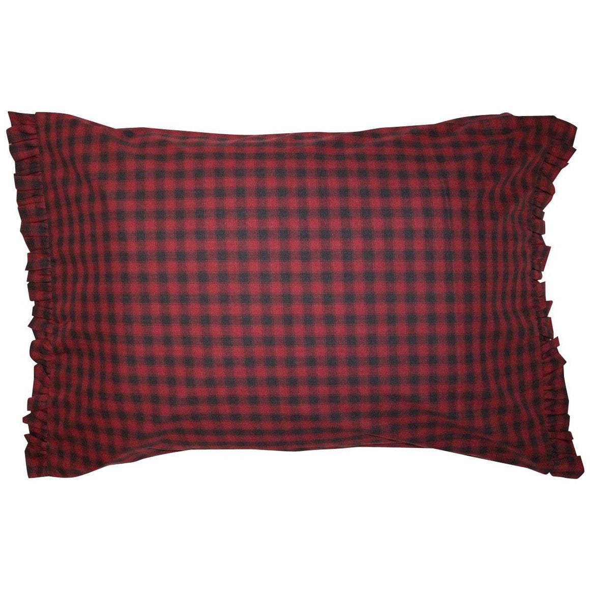 Cabin Check Ruffled Pillow Case Set