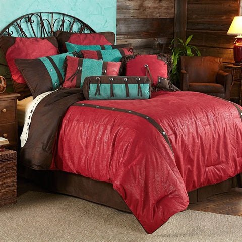 Cheyenne Red Comforter Set - Retro Barn Country Linens - 1
