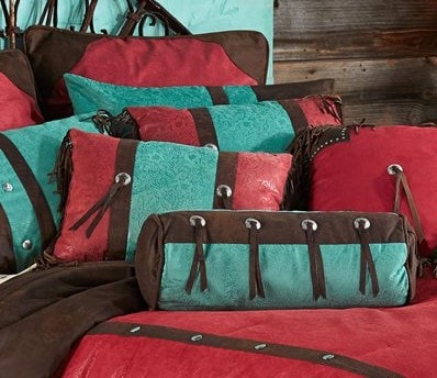 Cheyenne Red Comforter Set - Retro Barn Country Linens - 6
