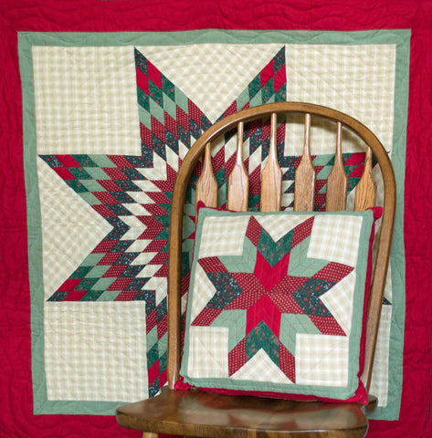 Christmas Lone Star Toss Pillow and Mini Quilt