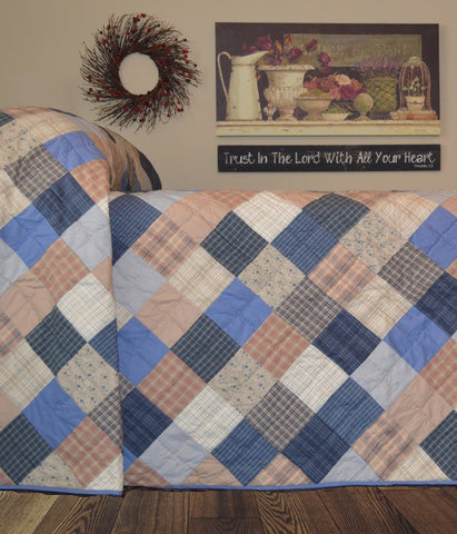 Cornflower Hand Quilted Bedspread Quilt - Retro Barn Country Linens - 1