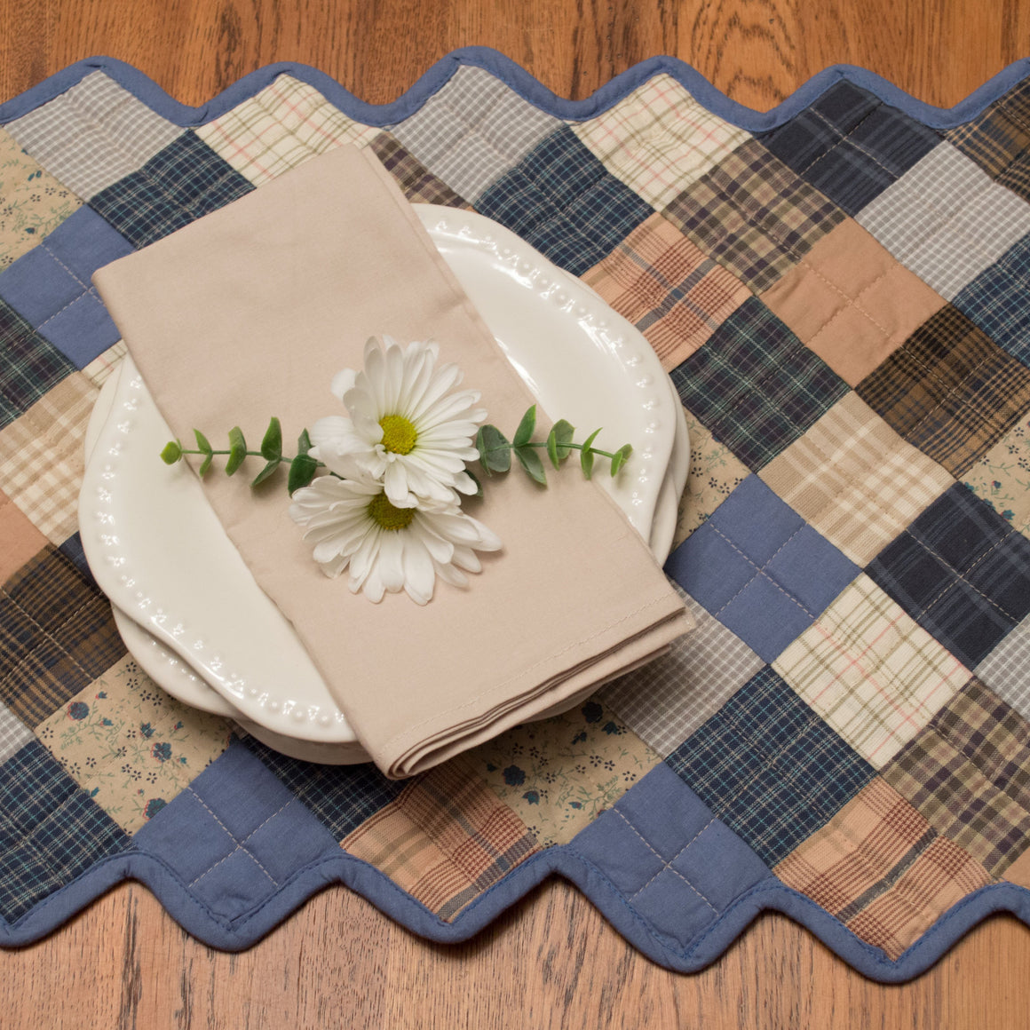 Cornflower Quilted Table Runner