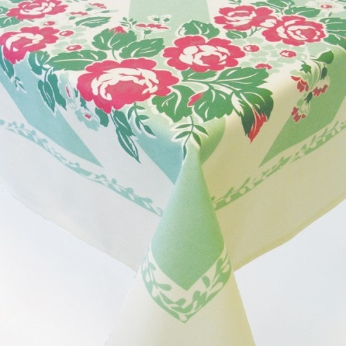 Cottage Rose Tablecloth   Retro Barn Country Linens   1 ...