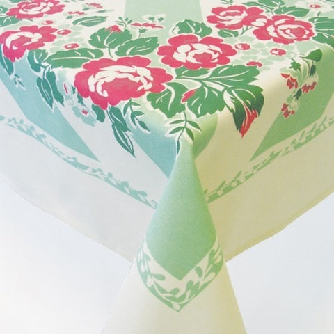 Cottage Rose Tablecloth - Retro Barn Country Linens - 1