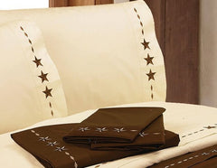 Embroidered Star Sheet Set - Retro Barn Country Linens - 1