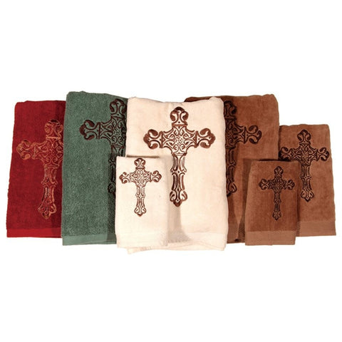 Embroidered Cross Bath Towel Set - Retro Barn Country Linens