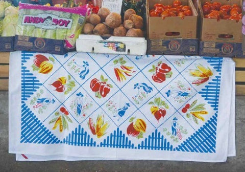 Farmer's Market Tablecloth - Retro Barn Country Linens - 1