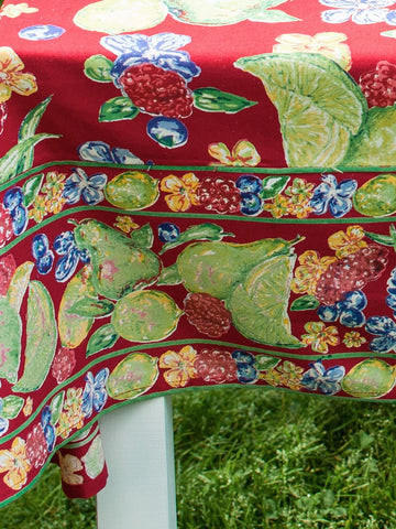 Red Fruit Medley Tablecloth - Retro Barn Country Linens - 2