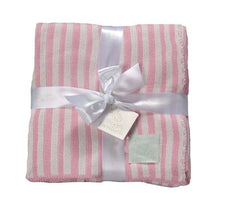 Garden Stripe Baby Blanket- Pink Stripe - Retro Barn Country Linens - 1