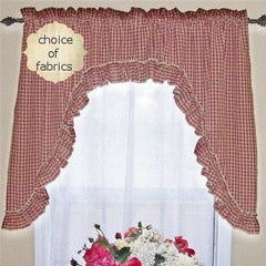 Homespun Ruffled Swag - Retro Barn Country Linens - 1