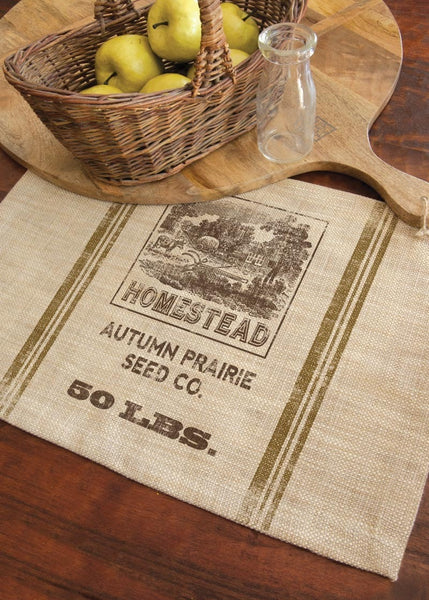 Homestead Seed Label Placemat Set Retro Barn Country Linens
