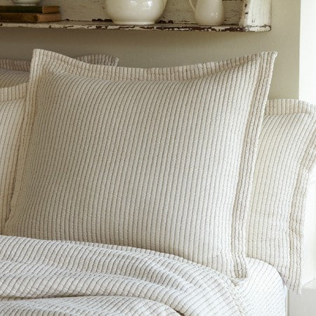Hudson Cream Stripe Matelasse Euro Sham - Retro Barn Country Linens - 1